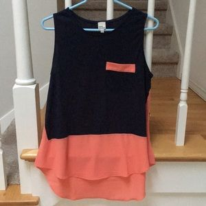 Navy and coral sleeveless top